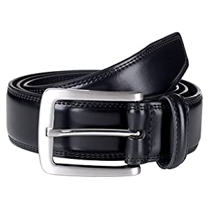 Sportoli Mens Genuine Leather Classic Stitched Casual Belt - Black (Size 34)