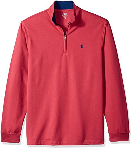 (IZOD Men's Nauset Light 1/4 Zip Fleece, Saltwater Red, Medium)