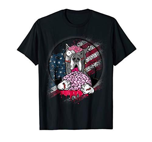 Great Dane Zombie Dog Lover | Patriotic American Flag Shirt