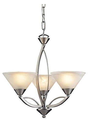 Elysburg 3 Light Chandelier In Satin Nickel And White Glass