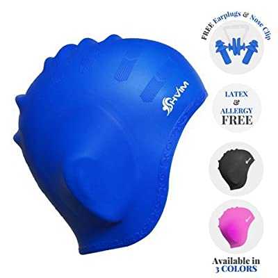 5 Piece Swimming Bundle Package   Swim Shower Cap with Ear Protector   Goggles with Attached Ear Plugs   Nose Clip   Anti-Reflection Lens   Protective Case   by Shvim