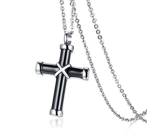 - PJ Jewelry Two-Tone Black Cross Cremation Ash Holder Urn Pendant Necklace Remembrance Keepsake