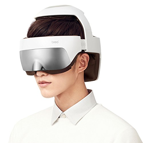 Breo iDream5 Head Massager, Rechargeable Eye Massager 2-in-1 Electric Helmet Massager with Heat, Air Compression, APP Control Neck Massager