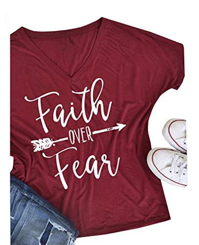 Qrupoad Womens Summer Casual Letter Print T-Shirt Short Sleeve Faith Over Fear Arrow Tee Tops Burgundy -