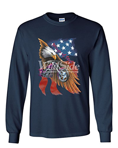 T-shirt Wings Steel (Wings of Steel Long Sleeve T-Shirt Route 66 Biker Flag Bald Eagle Navy Blue L)