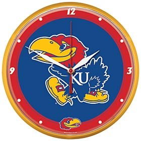 NCAA University of Kansas Round Wall Clock, 12.75