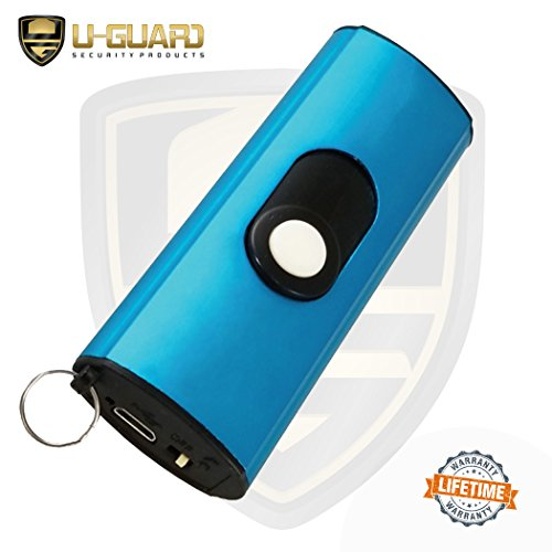 Micro Stun Gun Keychain Pepper Spray Self Defense Kit Bundle. Personal Non Lethal Weapons For Women Or Men. High Volt Rechargeable Key Chain Taser & Key Ring Max Strength Pepper Defence Spray (BLUE) by U-Guard Security Products (Image #5)