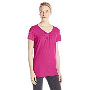 Hanes Women's Shirred V-Neck T-Shirt, Amaranth, X-Large