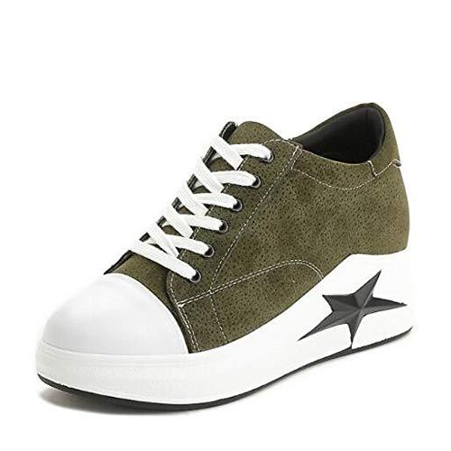 Verde chiusa Pigskin ZHZNVX da Bianco Punta Estate Scarpe Primavera piatto White Nero Comfort donna Sneakers Tacco PwAwg6