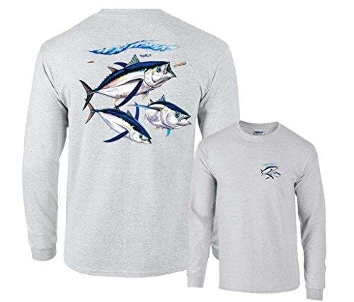 Cotton Shirt Fishing Long Sleeve (Fair Game Albacore Tuna Fish Long Sleeve Shirt-Ash-Large)