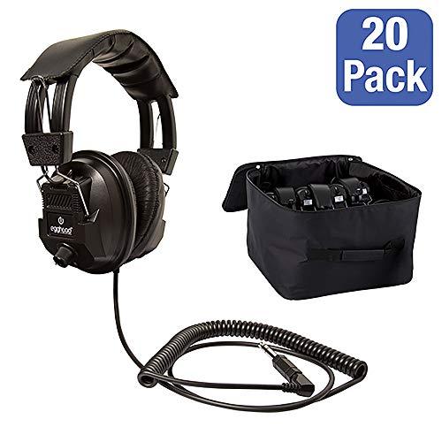Egghead EGG-IAG-1003-1014-SO-PK 20 Switchable Stereo/Mono Classroom Headphones w/Bonus Headphone Bag, Black (Pack of 20)