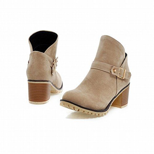 Carolbar Womens Fashion Retro Buckle Comfort Simple Mid Chunky Heel Short Boots Beige