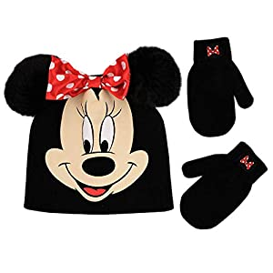 Disney Toddler Girls Minnie Mouse Beanie Hat and Gloves Set, Black, Age 2-4