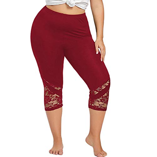 Dressin Women' Plus Size Yoga Leggings, Lace Skinny Sport Pants Exercise Trousers Solid Color Sport Pants for Women Red by Dressin (Image #7)