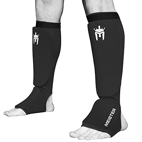 Meister MMA Elastic Cloth Shin & Instep Padded Guards (Pair) - Black - Youth/X-Small