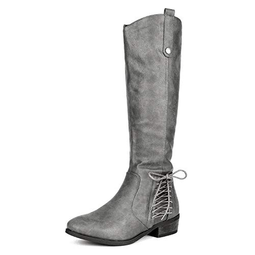 DREAM PAIRS Women's Acker Grey Knee High Boots Size 9 B(M) US