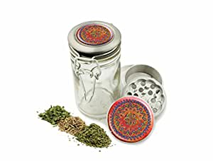 """Red Mandala 1.5"""" Grinder and Glass Jar Combo! 4 Part Aluminum Grinder & Wire Top Glass Stash Jar for Herbs Spice Herbal w/ Free Jar Labels Cute girly"""