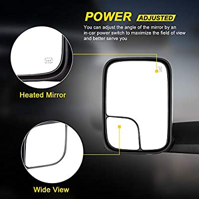 OCPTY Towing Mirrors with Power Heated Left Right Side Tow Mirrors Compatible with 1998-2001 Dodge Ram 1500 1998-2002 Dodge Ram 2500 3500 with Black Housing with Mounting Brackets: Automotive