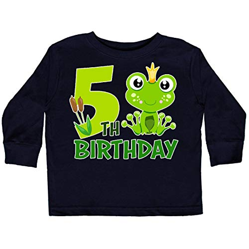 inktastic - 5th Birthday Prince Frog Toddler Long Sleeve T-Shirt 4T Black ()