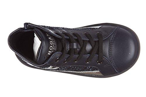 Hogan Rebel scarpe sneakers bimba bambina alte pelle nuove r141 blu