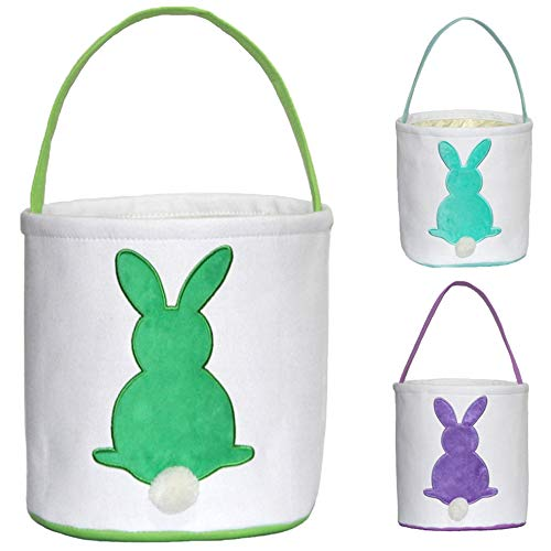 ERANLEE Easter Bunny Basket Reusable Storage Tote Bag Carrying Gifts Eggs for Easter Personalized Easter Bucket for Kids Party Gift Bags (Green)