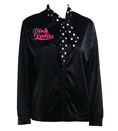 1950s Black Rhinestone Pink Ladies Jacket with Polka Dot Scarf Costume (M, Black&Rhinestore) -