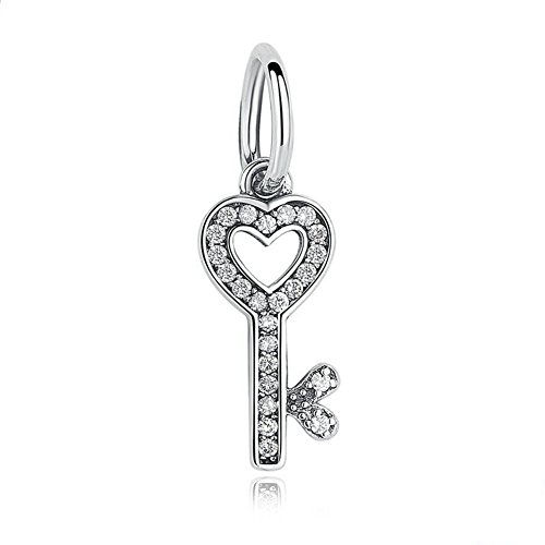 - Sparkling Key Dangle Charm 925 Sterling Silver Heart Beads fit for Fashion Charms Bracelets