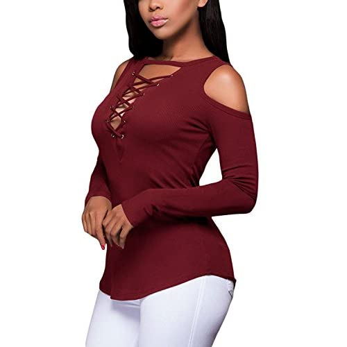 22cbf5b18fa 85%OFF Thanth Women s Sexy Casual Long Sleeve Off Shoulder Lace Up T-Shirt