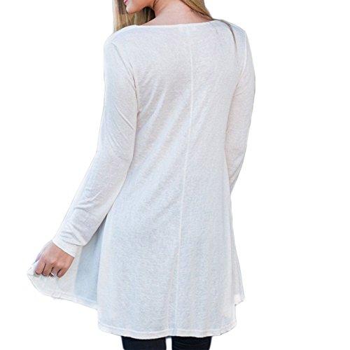 Frauen Mode Rundkragen Loose Beiläufige Baumwolle Spitze Zum Schnüren Neu Langarm Minikleid Freizeitkleider Kleid