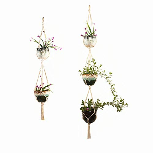 Simple Double Plant Hanger Indoor Outdoor Hanging Planter Basket, Plant Container Accessories Racks-Cotton Rope 4 Legs 2 Tier 3 Tier Supports 5 Flower pots 2 Pack