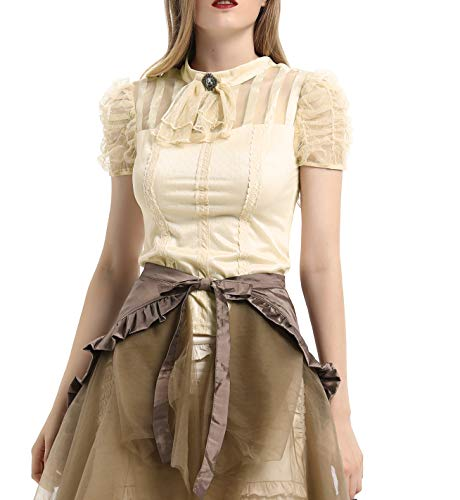 Lady See-Through Victorian Blouse Renaissance Steampunk Short Sleeve Top SL005-2 Beige L]()
