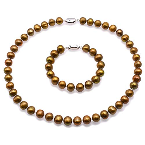 - JYX Pearl Jewelry Set 9.5-11.5mm Bronze Freshwater Pearl Necklace and Bracelet Set for Women 18