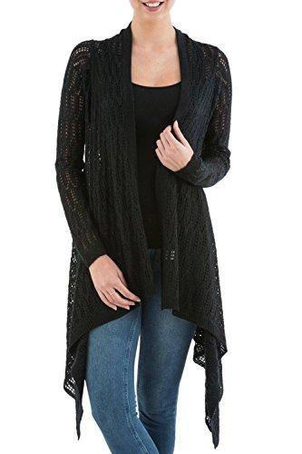 NOVICA Black Alpaca Wool Blend Sidetail Cardigan Sweater, Mirage'