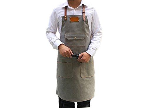 L Tamaño Correa de piel gris delantal de lona para hombres personalizados barbería peluquería mujer cocina personalizada...