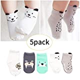 Baby Socks Assorted Non Ankle Skid Cotton Socks Walker Boys Girls Toddler Anti Slip Stretch Knit Sneakers Crew Socks with 16-36 Months Baby 5 Pairs