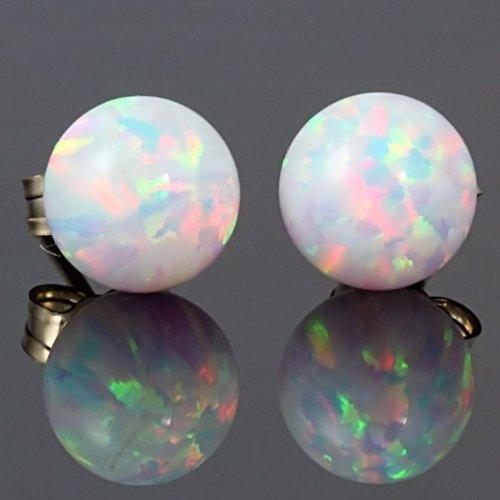 Trustmark 14k Yellow Gold 10mm Fiery White Created Opal Ball Stud Post Earrings, Lorraine by 1000 Jewels (Image #3)