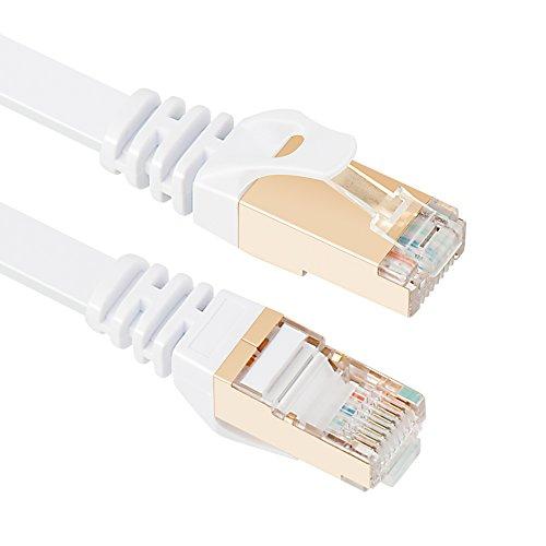 EthernetCable,VANDESAILCAT7NetworkCableRJ45HighSpeedSTPLAN Cord Gigabit10/100/1000Mbit/sGoldPlatedLead (10m/ 33ft, White-1pack)