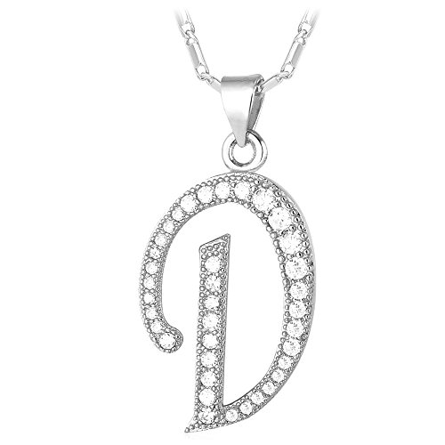 Letter Necklace Teen Girls Women 18K Stamp Chain Gold Plated Initial Pendant Cubic Zirconia Inlaid Personalized Necklaces (Letter D)