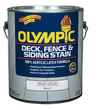 Olympic Solid Color Deck/ Fence/Siding Latex Stain Acrylic Base 2 1 Gl ()