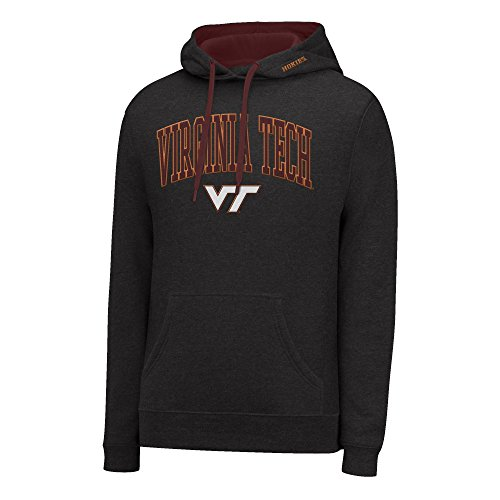 J America NCAA Virginia Tech Hokies Men's Single Dye Arched School Name Twill Hoodie, X-Large, Black HTR/Maroon