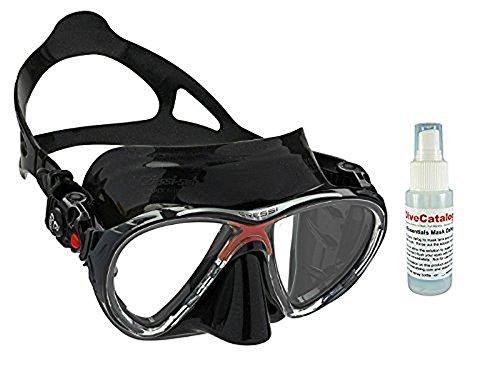 Cressi Big Eyes Evolution Scuba Diving Mask, Black/Red w/2oz Defog Spray