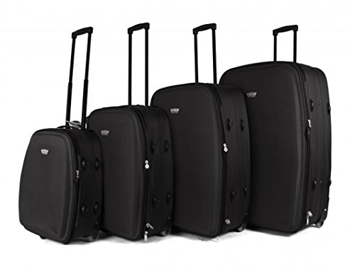 Black TC-04 Top Lite Set of 4 Lightweight Suitcases - Ultra Light 2 Wheel Luggage Suitcase Set - Super Light Durable Travel Bag with Black Wheels