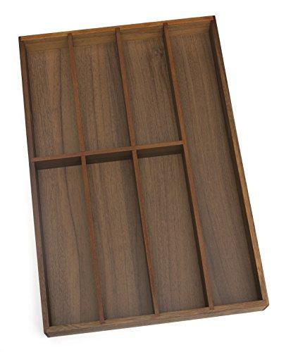 Lipper International 1077 Acacia Wood Flatware Organizer with 7 Compartments, 12