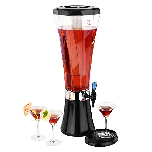 VonShef 5 Liter (170 fl oz) Easy Pour Party Tabletop Beer/Drinks Beverage Dispenser with Ice - Dispenser Beer Tower