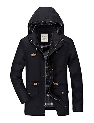 DAVID.ANN Men's Cotton Windbreaker Hoodie Jacket Trench Coat With Removable - Coat Trench Mens Cotton