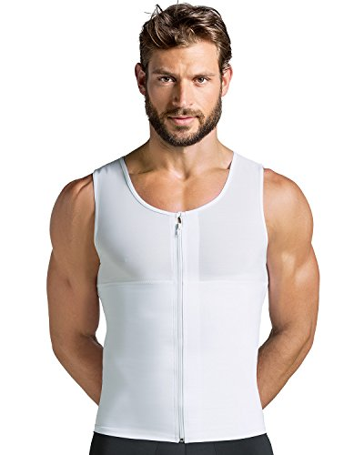 Leo Mens Abs Slimming Body Shaper with Back Support,White,Large by Leo