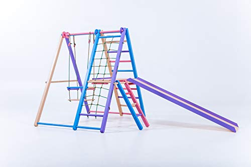 EZPlay Panda Playground Indoor Jungle Gym Limited Coral Color - Toddlers Age 1-5, Foldable Play Structure Home: Swing Slide, Ladders, Monkey Bars Rings
