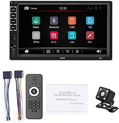 Navegador GPS para coche de 7 pulgadas con pantalla táctil Bluetooth 2 DIN HD MP5, pantalla retrovisor, navegador USB, actualizaciones de mapas gratuitas N7 + Kamera Negro: Amazon.es: Hogar