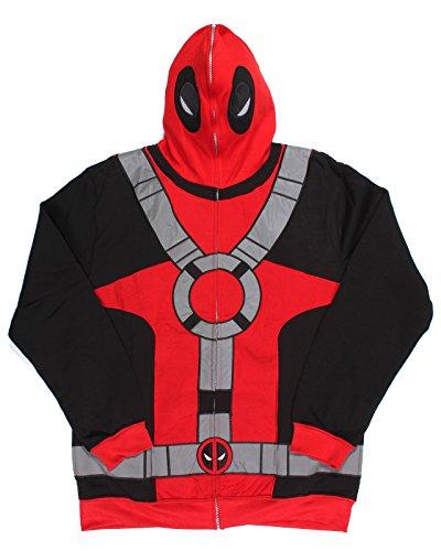 Deadpool Hoodie (Marvel Deadpool Suit Up Full Mask Mens Hoodie (Small))