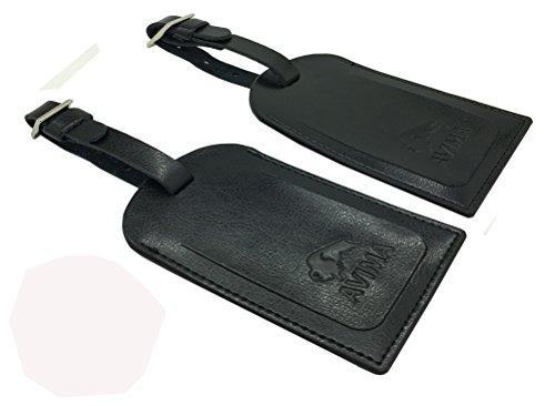 AVIMA BEST Premium Leather Luggage Tags 2pcs Set With Address Id Label - Black